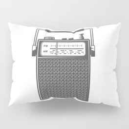 Retro portable radio. Monochrome vintage style illustration Pillow Sham