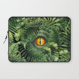 Watercolor dinosaur eye and prehistoric plants Laptop Sleeve