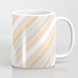 Retro Diagonal Stripes in Pastel Champagne Coffee Mug