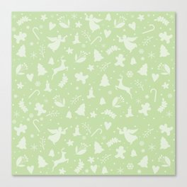 Green Christmas pattern Canvas Print