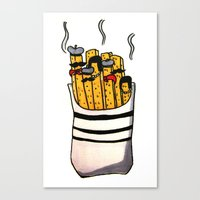french fries Canvas Prints featuring French Fries by Bubblesquat