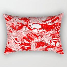 Big waves Red Rectangular Pillow