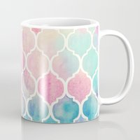 green Mugs featuring Rainbow Pastel Watercolor Moroccan Pattern by micklyn