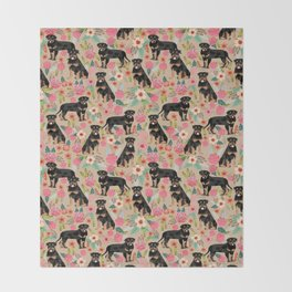 Rottweiler florals cute dog pattern pet friendly dog lover gifts for all dog breeds Throw Blanket