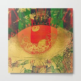 Passion - Abstract Eye Coral Metallic Metal Print