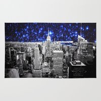 new york city Area & Throw Rugs featuring new york city. Blue Stars by 2sweet4words Designs