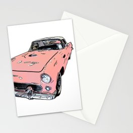 Pink Sports Car Automobile Art by Daniel MacGregor Stationery Cards