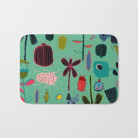 Insect watercolor green Bath Mat