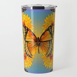 ORANGE-BLUE   BUTTERFLIES & YELLOW SUNFLOWERS Travel Mug