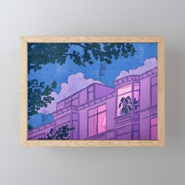 Looking into windows at night Framed Mini Art Print