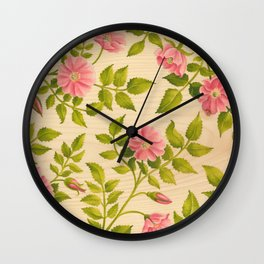 Pink Wild Rose on Wood Panel Wall Clock