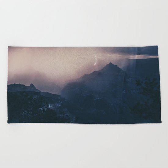 Lightning Crashing Beach Towel