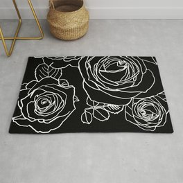 Feminine and Romantic Rose Pattern Line Work Illustration on Black Rug