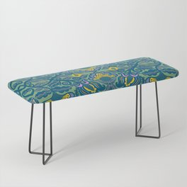 Blue Vines and Folk Art Flowers Pattern Bench