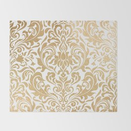 Gold foil swirls damask #12 Throw Blanket