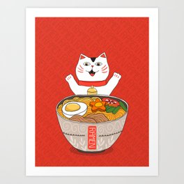 Liter of Ramen. Japanese soup and Manekineko cat. Art Print