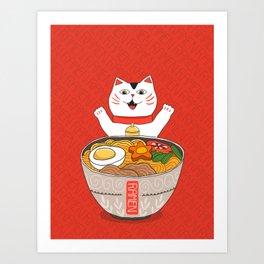 Liter of Ramen. Japanese soup and Manekineko cat. Art Print