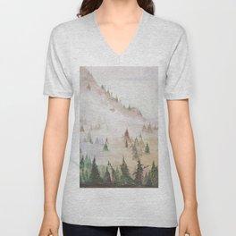 Forêt dans la brume Unisex V-Neck