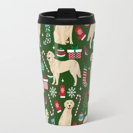 Golden Retriever festive christmas dog illustration pet portrait pet friendly gifts for dog breed Travel Mug