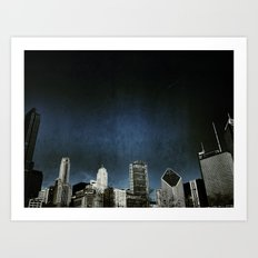 Chi town towers and midnight Art Print
