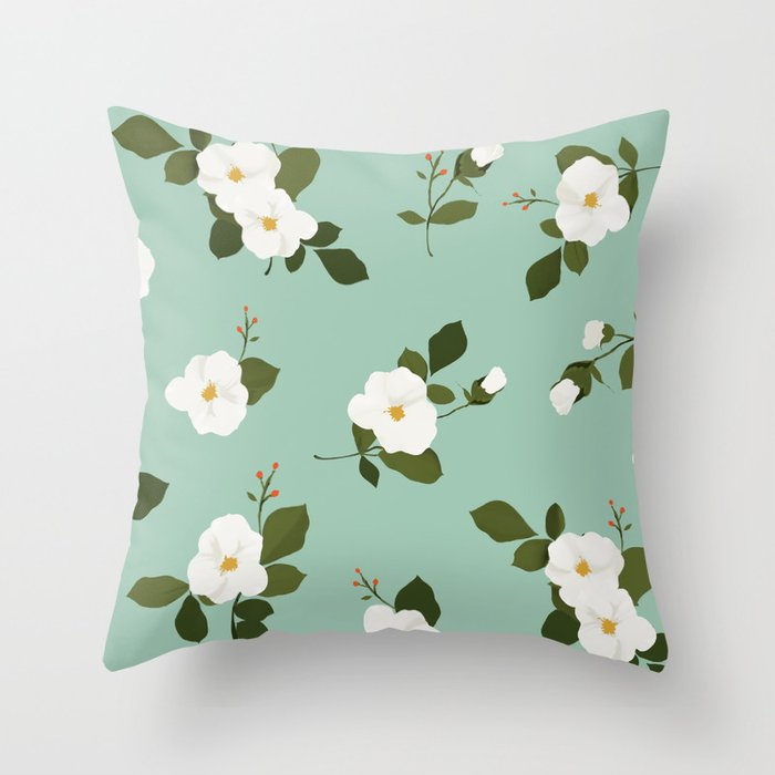 Floral Throw Pillow White Flowers On Mint Background Throw Pillow By Hellopillow Society6