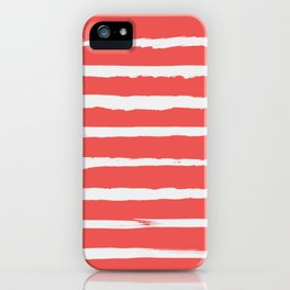 Irregular Hand Painted Stripes Coral Red iPhone Case