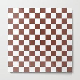 Checkered (Brown & White Pattern) Metal Print