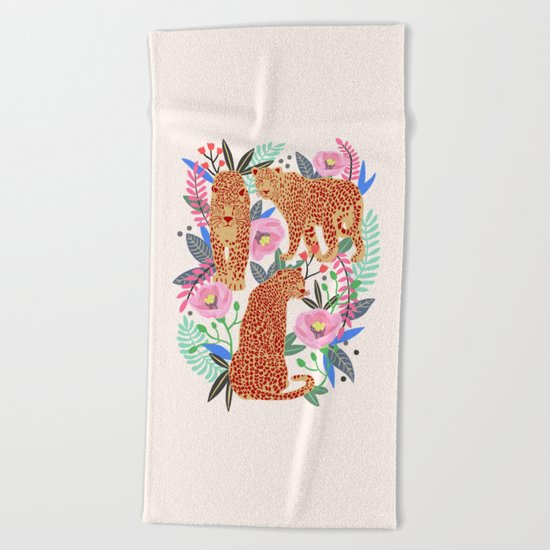 The Leopards, leopard print, animal print, flower print Beach Towel