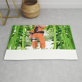 Hero anime in the bamboo forest Rug