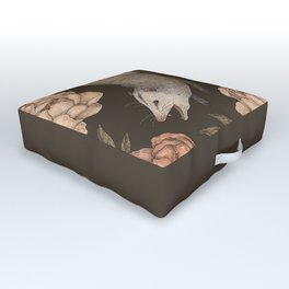 The Opossum and Peonies Outdoor Floor Cushion