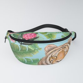 Jungle Tiger Tropical lovebirds Art by Magenta Rose Designs Fanny Pack