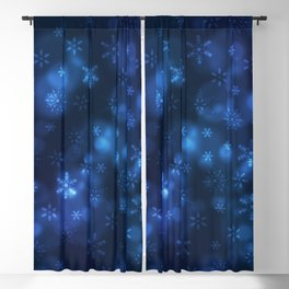 Blue Snowflakes Winter Christmas Pattern Blackout Curtain