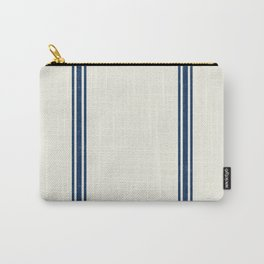 Blue Stripes on Creme background French Grainsack Distressed Country Farmhouse Carry-All Pouch