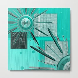 Retro! Retro! Star burst clock Metal Print
