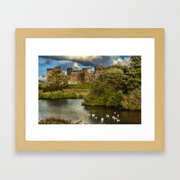 Caerphilly Castle Western Towers Framed Art Print