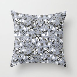 Victorian floral   slate gray Throw Pillow
