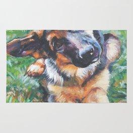 German Shepherd dog portrait painting by L.A.Shepard fine art alsatian Rug