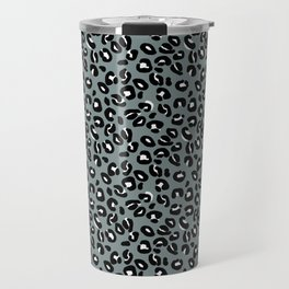 Grey and Black Leopard Spots Animal Print Pattern Travel Mug