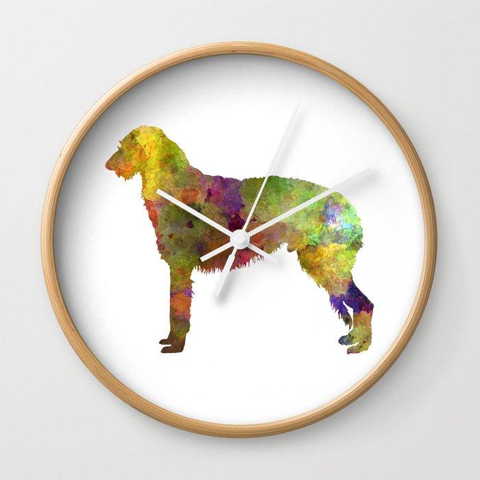 Deerhound in watercolor Wall Clock