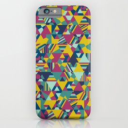 Colourful triangular mosaic in blue, yellow and burgundy iPhone Case