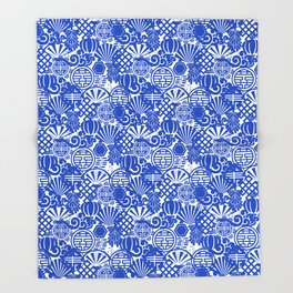 Chinese Symbols in Blue Porcelain Throw Blanket