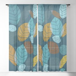 Dark Forest / Abstract Leaf Illustration Sheer Curtain