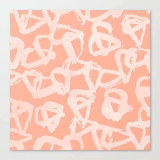 Sweet Life Triangle Dots Peach Coral Pink Canvas Print