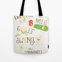 golf Tote Bags featuring Golf  by Crea Bisontine