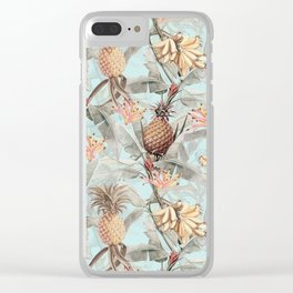 Vintage & Shabby Chic - Teal Pineapple Banana Tropical Summer Garden Clear iPhone Case