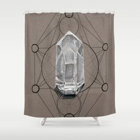 sacred geometry Shower Curtains featuring Sacred Geometry  by Kit King & Oda