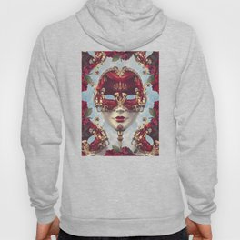 Floral Decadence - Red & Gold Venetian Mask Hoody