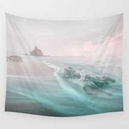 Dreamy Beach In Pink And Turquoise Wall Tapestry