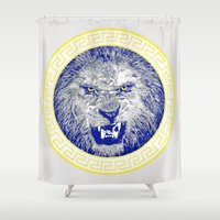 versace Shower Curtains featuring Versace Lion by Hans Poppe