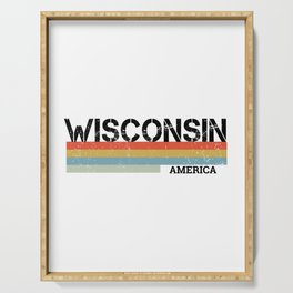 Retro Vintage Stripes Wisconsin Gift & Souvenir Graphic Serving Tray